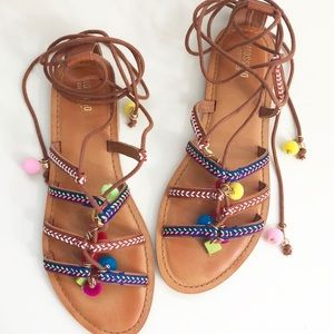 [Mossimo Supply Co.] Lace Up Pom Gladiator Sandals